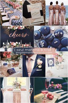 Decoração de Casamento : Paleta de Cores Azul Marinho e Rosé   Blog de Casamento DIY da Maria Fernanda