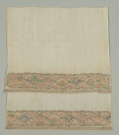 Turkey, 19th century, embroidery: silk, gold and silver filé on linen tabby ground, Average: 109.2 x 54.6 cm (42 15/16 x 21 1/2 in). Gift of Mr. and Mrs. J. H. Wade 1916.1255