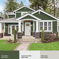 Green Exterior Paints, Exterior Paint Colors For House, Dream House Exterior, Paint Colors For Home, Green House Exteriors, Siding Colors For Houses, Green Siding, Exterior House Paints, Green House Paint