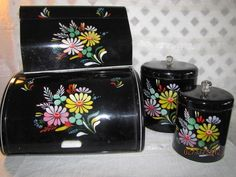 ... Hand painted black tin set Bread Box Canisters ... | Tin box