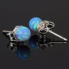 Sky: 4mm Azure Blue Opal Ball Stud Post Earrings Solid 14K Yellow Gold