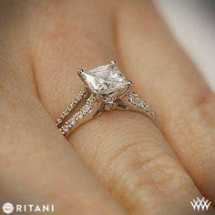 Hand view of Ritani Split Shank Princess Cut Engagement Ring | bridesandrings.com
