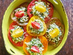 heirloom tomatoes with herbed orzo salad