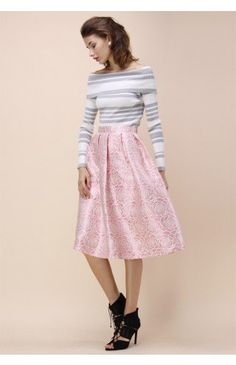 Glossy Rose Jacquard Midi Skirt in Pink - Bottoms - Retro, Indie and Unique Fashion