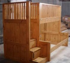 Kids bunk beds with stairs! I like the railings on the top they seem very protective from rolling of the top.