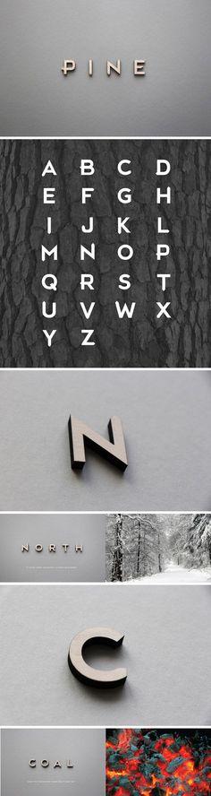Pine typeface. Vanhan ajan kouluista ja virastoista muistuttava, mutta vähän erikoinen kirjasin.