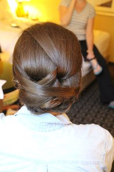 Updo for long hair. Updo for thick hair. Bridal hair. Bridesmaid hair