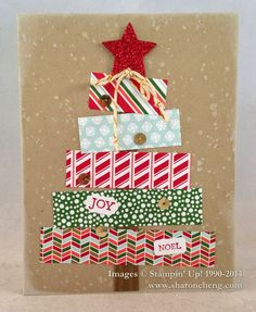 Sharon's Christmas tree card: Bright & Beautiful, Gorgeous Grunge, Nordic Noel dsp, Red Glimmer Paper, Stars framelits, & more. All supplies from Stampin' Up!