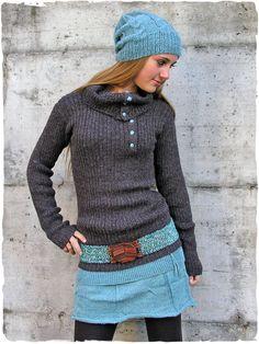 Mini gonna Samanta  mini  gonna in  maglia lavorata a mano con  lana f3a897ab5e14