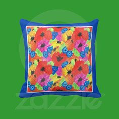 Poppies and Cornflowers Throw Pillow or Cushion from Zazzle.com