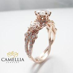 14K Rose Gold Engagement Ring Round Moissanite Engagement Ring Halo Forever Brilliant Moissanite Ring Diamond Alternative