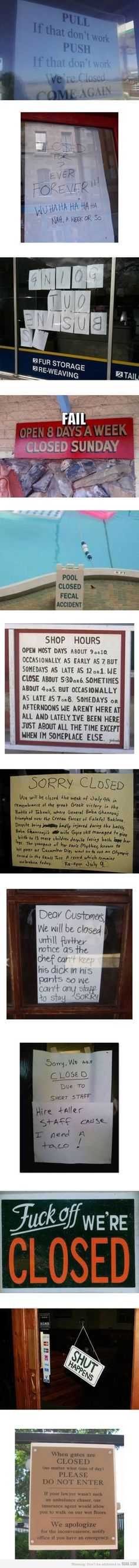 Closed signs.