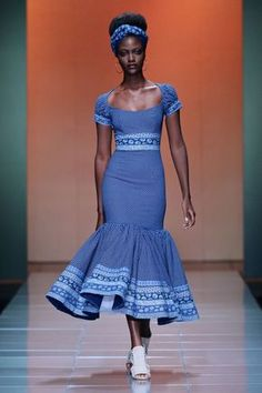 Ankara African traditional wedding dresses shweshwe-wedding-on- South African Traditional Dresses, Traditional Wedding Dresses, Traditional Outfits, Modern Traditional, African Inspired Fashion, African Print Fashion, Africa Fashion, African Print Dresses, African Fashion Dresses