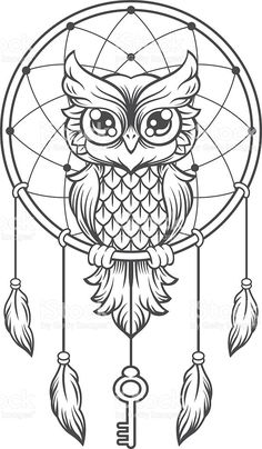 Dream-catcher black and white owl vector art - Perfect for colouring