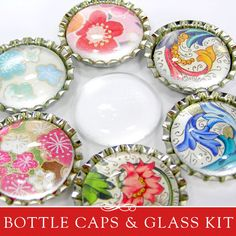 Make beautiful magnets with bottle caps and Glamour FX™ Glass. Learn to make beautiful magnets using bottle caps and Glamour FX glass. This kit includes everything that you need to make your very own