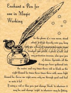 Enchant a Pen page for Book of Shadows, Real Witchcraft Spell, Wicca Poster