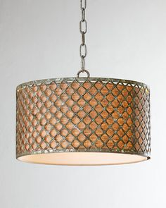 Vera Drum Pendant mottled silver leaf finish w/ linen sahde & ceiling canopy. 17 diam x 11 H. 1 x 60 watts