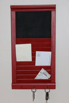 Repurposed Shutter Into Key/Mail Holder with by VintageWoodenShoe, $26.00