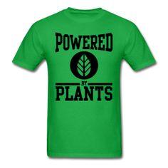 Powered By Plants - Black Design Men's Green T-Shirt