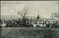Eiken i Hægebostad kommune Vest-Agder fylke Motiv med barna fra skulane i Eiken 17. mai 1914