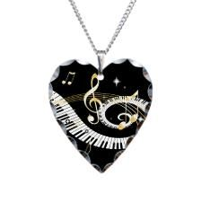 Personalized Piano Musical gi Necklace Heart Charm for
