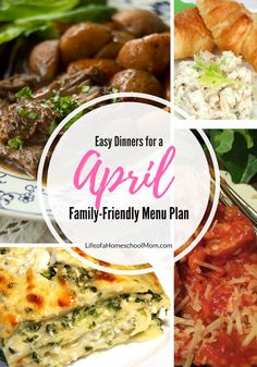 April Family Friendly Meal Plan {with recipe links}