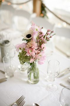 pretty yet simple table arrangements with anemones, sweet pea and ranunculus | www.onefabday.com