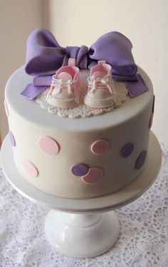 Beautiful Cake Pictures: Pink & Purple Polka Dotted Baby Shower Cake: Birthday Cakes, Colorful Cakes, Themed Cakes