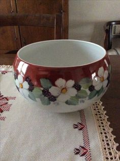 Large bowl hand painted by Angela Davies