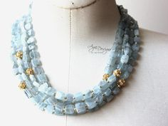 Triple strand Kyanite necklace by Aga Designs Beautiful