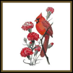 Ohio State Bird and Flower Counted Cross Stitch Pattern - Northern Cardinal and Scarlet Carnation