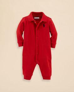 Ralph Lauren Childrenswear Infant Boys' Interlock Solid Coverall - Sizes 3-12 Months