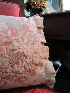 A pillow detail for my guest room. Love the boxed pleating and toile combo.