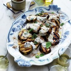 Grilled Eggplant with Moroccan Spices (Aubergines à la Marocaine) | MyRecipes.com #myplate #veggies #dairy