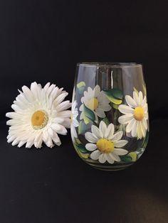 Daisy stemless wine glass, white daisy flower wine glass , hand painted  flowers