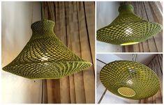 Crochet Motifs, Crochet Art, Crochet Lampshade, Crochet Beach Bags, Lamp Inspiration, Cabin Lighting, Newspaper Crafts, Crochet Home Decor, Diy Home Improvement