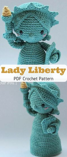 Sweetest Lady Liberty ever! Make your own little stuffed Lady Liberty toy with this crochet pattern #ladyliberty #ad #crochetpattern