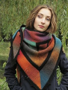"Knit shawl ""Seasons"" (knitted shawl, handmade wrap, knitting wool shawl, knit patchwork)"