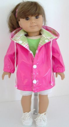 Hot Pink rain jacket with green plaid lining....cute drawstring and snaps