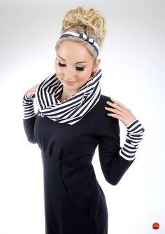 "Ballonkleider - MEKO ""Leny"" Kleid Dunkelblau Damen langarm maritim - ein Designerstück von meko bei DaWanda"