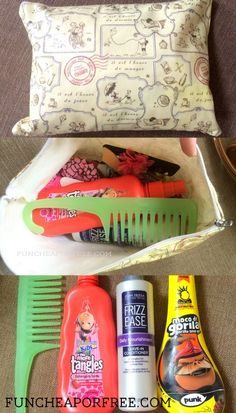 """Keep a """"hair bag"""" handy for taming kids' hair, even on the go. LIFE SAVER right here! Plus great products for kid hair & how to tame wild toddler curls, from FunCheapOrFree.com"""