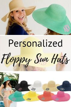 23eec4836b1 Floppy sun hats personalized with a single initial or 3 letter monogram to  wear during a