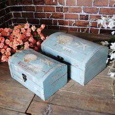blue sea do old zakka wooden storage jewelry box hot selling