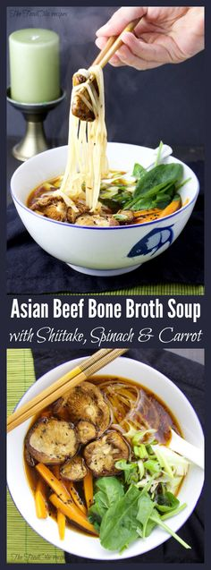 Spicy Asian Beef Bone Broth Soup with shiitake mushrooms, spinach, carrot and scallion. #soup #noodles #asian #bonebroth