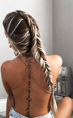 Women's Badass Meaningful Script Quote Spine Tattoo Ideas with Cursive Handwriting Text - citar ideas de tatuajes para mujeres - www.MyBodiArt.com #TattooIdeasQuote