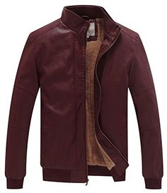98b0341437277 WenVen Men s Winter Fashion Faux Leather Jackets(Red Wine... http