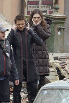 Jeremy Renner (Hawkeye) and Elizabeth Olsen (Scarlet Witch) are in full action mode in this latest batch of set photos. The Avengers: Age of Ultron stars Robert Downey Jr.