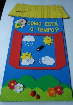 Painel escolar Janelinha do tempo | Oficina da Pink | Elo7 School Age Activities, Craft Activities For Kids, Classroom Activities, Classroom Decor, Preschool Activities, School Projects, Projects To Try, Crafts To Make, Crafts For Kids