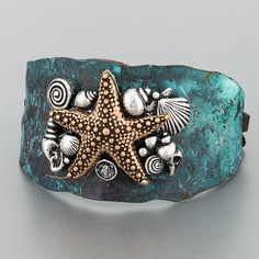 Antique Patina Gold Silver Sea Life Inspired Starfish Statement Cuff Bracelet #Unbranded #Statement