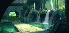 Environment concept for my Flood Plains project Waterfall Walkway Landscape Concept, Fantasy Landscape, Landscape Art, Fantasy Places, Fantasy World, Fantasy Art, Environment Concept, Environment Design, Bg Design